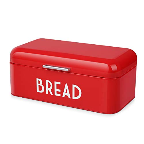 Flexzion Vintage Metal Bread Box for Kitchen Counter, Bread Bin Storage Container Steel Countertop Space Saving, for Homemade Machine Bread Refrigerator Travel Camping Bakery Cafe, Red (Wooden Bread Box Canada)