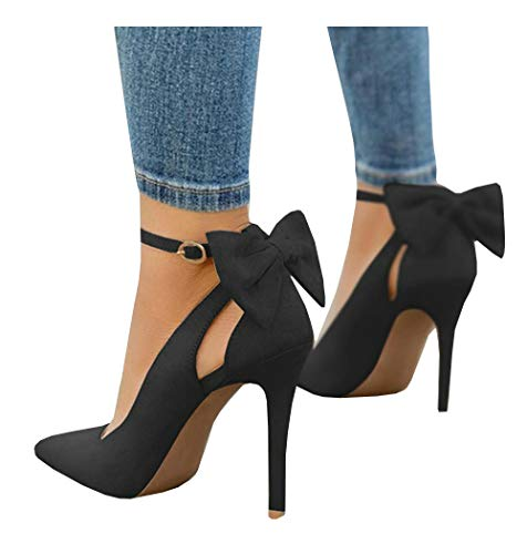 PiePieBuy Women's Pointed Toe High Heels Ankle Strap D'Orsay Pumps Shoes Bow Wedding Bowtie Back Dress Sandals