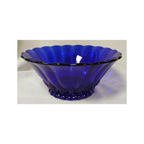 Nicole cobalt blue glass deep paneled sides centerpiece