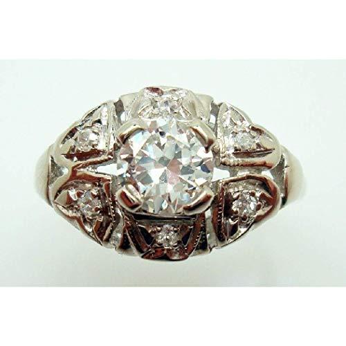 14K Gold Round .55ct Genuine Natural Diamond Ring with Small Diamonds (#2867) ()