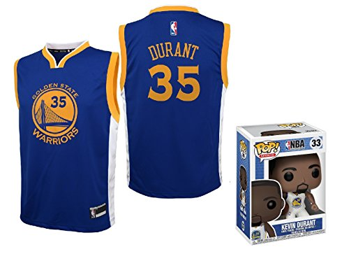 OuterStuff Kevin Durant Golden State Warriors #35 Youth Road Jersey with Funko Pop Figure (Youth Large 14/16)