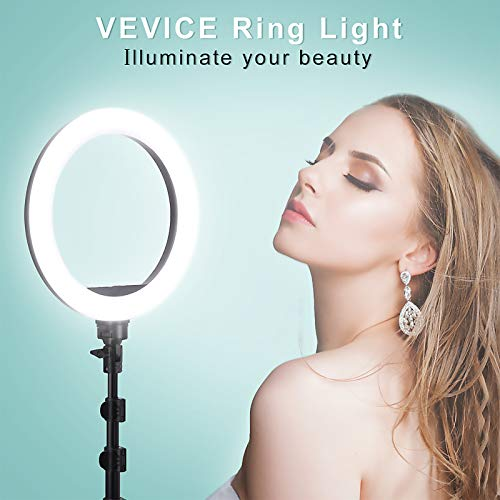 VEVICE Ring Light Kit 10 inch Dimmable LED Ring Light Selfie Ring Light with Light Stand Carrying Bag Phone Holder for Camera Smartphone YouTube TikTok Self-Portrait Shooting Video Conference
