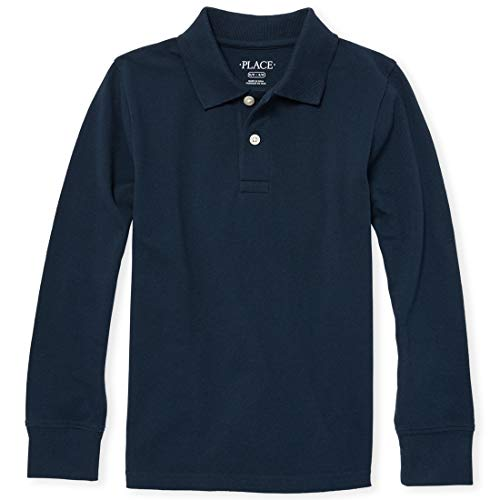 The Children's Place Boys' Little Long Sleeve Uniform Polo, Nautico, Small/5/6 (Big & Tall Long Sleeve Polo Shirts)