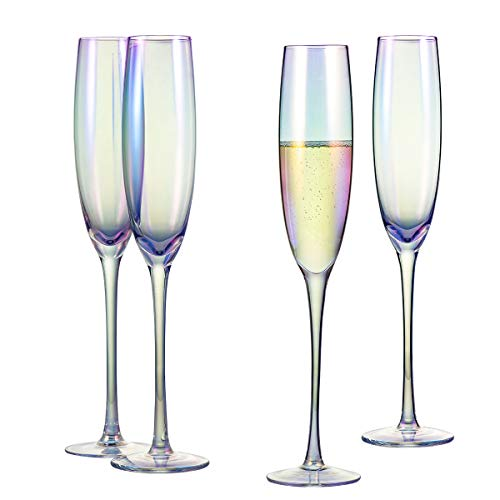 Classic Champagne Flute Glasses 6 oz. Set of 4 Iridescent – Crystal Glass Long Stemmed Glassware Sparkling Wine Glasses…