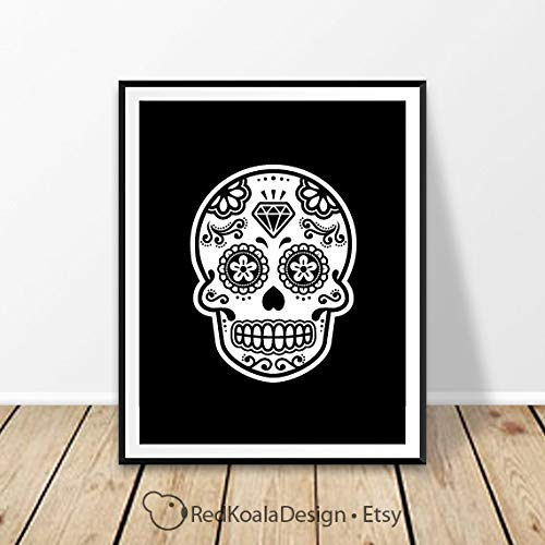 MalertaART Skull Wall Art Sugar Skull Art Halloween Print Halloween Art Mexican Skull Printable Art Mexico Design Day of The Dead Art Calavera Framed Wall Art