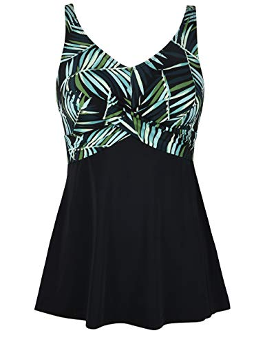 Septangle Women's One Piece Green Leaf Swimdress with Bottom Briefs Swimsuit Beachwear Swimwear,Green,US 12 ()