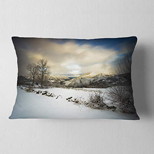 Designart CU9493-12-20 Snow Storm in Spain' Landscape Photography Throw Lumbar Cushion Pillow Cover for Living Room, Sofa, 12 in. x 20 in, Pillow Insert + Cushion Cover Printed on Both Side by Designart