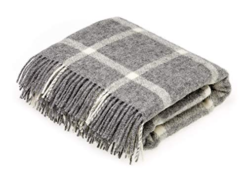 (Moon Wool Throw Blanket, Pure New Wool, Grey Windowpane, Made in UK)