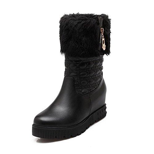 AllhqFashion Damen Blend-Materialien Rund Zehe Ziehen auf Stiefel Schwarz-Anhänger