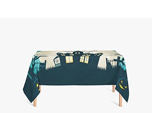 AmyOKeefe creepy, full moon, castle, bat, evil pumpkin, horror, trees, scary house, Blue beige Polyester fiber Tablecloths, 24 X 24 Inch (Live Halloween Wallpaper For Desktop)