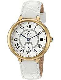 by Gevril Women's Rome Stainless Steel Swiss Quartz Watch with Leather Calfskin Strap, White, 16 (Model: 12202)