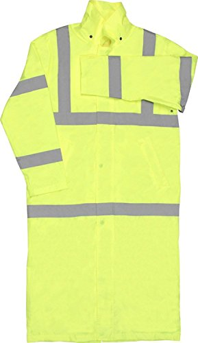 ERB 62030 S163 Class 3 Long Rain Coat Safety Vest, Hi-Viz Lime, X-Large ()