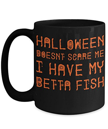 Halloween Betta Fish Mug - White 11oz Ceramic Tea Coffee Cup - Perfect For Travel And Gifts -