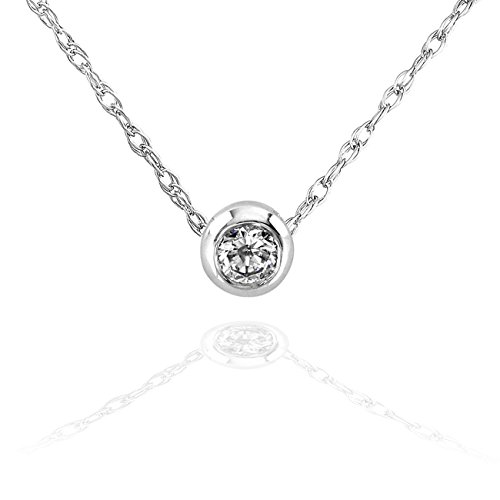 Mini Diamond Solitaire Bezel Necklace in 14K Gold (18