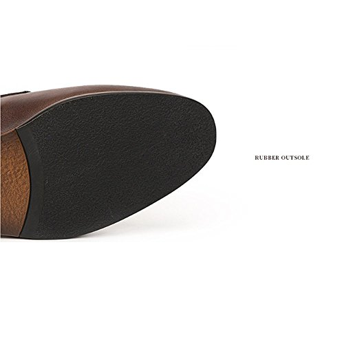 LYZGF Bullock De Rétro Cuir Sculpté en Conduite Hommes Jeunes Chaussures Mode Brown Décontractée AHqAraf