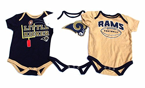 Baby Boys 3 Pack Bodysuits-Los Angeles Rams 12 Months by Campus Lifestyles