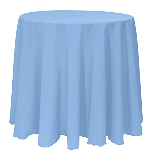 Inch Round Polyester Linen Tablecloth Light Baby Blue ()