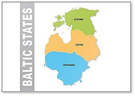 Amazon.com: Baltic States Map classic fridge magnet: Kitchen ...