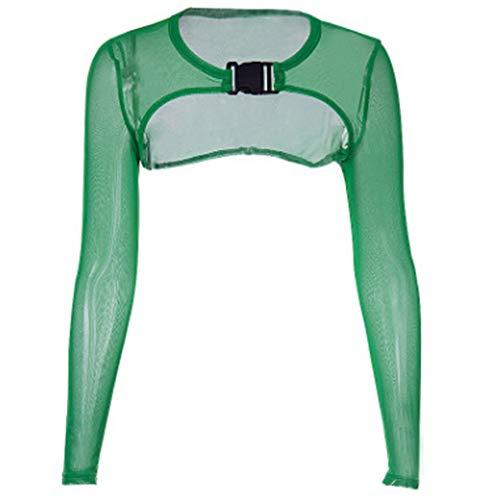 Women's Extra Short Sheer Mesh Crop Top Long Sleeve Buckle Closure Tank Tees (S, Green) (Green Mesh Super)