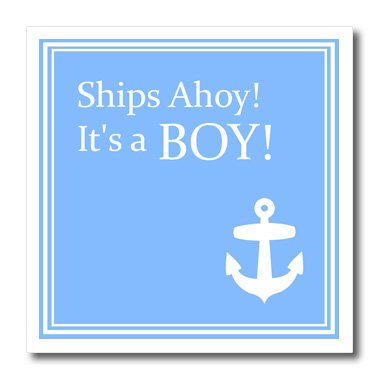 - 3dRose ht_151388_1 Ships Ahoy Its a Boy Baby Showers Powder Blue, White Anchor Sailor Iron on Heat Transfer, 8 by 8-Inch, for White Material