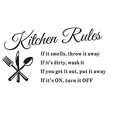 SJINC Removable Kitchen Rules Words Wall Stickers