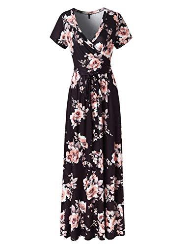 YUMDO Women's V Neck Short Sleeve Floral Print Faux Wrap Long Maxi Dress Belt Black XL -