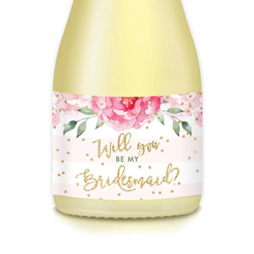 Will You Be My Bridesmaid? Set of 10 Wedding Party Proposal Labels for Mini Champagne Bottles, Ask Fave Ladies Maid Matron of Honor, 3.5