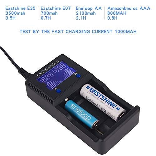 Universal Battery Charger EASTSHINE S2 LCD Display Speedy Smart Charger for Rechargeable Batteries Ni-MH Ni-Cd AA AAA Li-ion LiFePO4 IMR 10440 14500 16340 18650 RCR123 26650 18500 17670 & Car Adapter