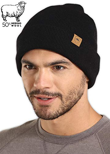 Tough Headwear Merino Wool Cuff Beanie Watch Cap - Warm, Soft & Stretchy Knit Hats for Men & Women - Skull Cap for Daily Use - Winter Toboggans for Outdoor ()