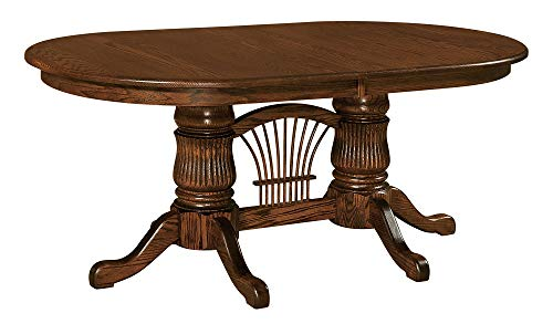 New Hickory Wholesale Amish Fluted Solid Wood Double Pedestal Dining Table, Stained (42