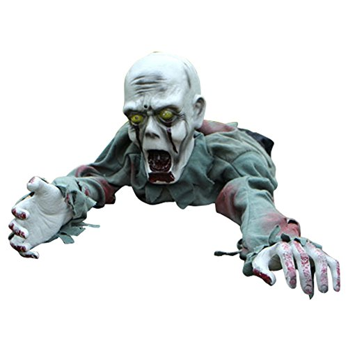 LETSQK Animated Crawling Zombie Bloody Skeleton Halloween Haunted House Decorations Prop Bald (Halloween Clearance Costumes)