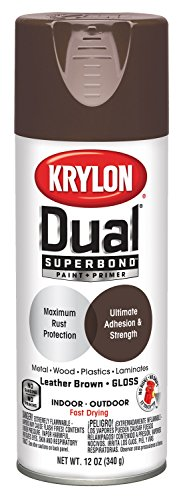 Krylon 8812 'Dual' Gloss Leather Brown Paint and Primer - 12 oz. Aerosol ()