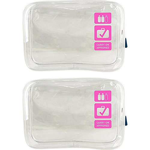 Flight 001 Clear TSA Approved Carry On Quart Bag Set - EXCLUSIVE (Pink)
