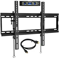 Everstone TV Wall Mount Tilting for 32-75 LED,LCD and Plasma Flat Screen TVs,Curved TV,Low Profile Bracket up to VESA 600x400mm and 165 LBS,fits 16 and 24 Wall Studs,with HDMI Cable & Bubble Level