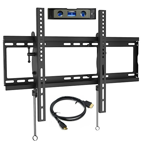 "Everstone TV Wall Mount Tilting for 32-75"" LED,LCD and Plasma Flat Screen TVs,Curved TV,Low Profile Bracket up to VESA 600x400mm and 165 LBS,fits 16"" and 24"" Wall Studs,with HDMI Cable & Bubble Level"