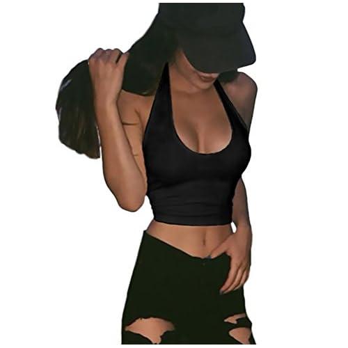 4da241570 Buena Mujer Camisetas Sin Mangas Verano Basicas Sin Mangas Cuello Halter Sin  Espalda Crop Top Dulce