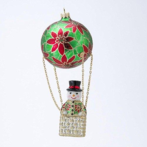 Kurt Adler David Strand Designs Glass Frosty Skies Poinsettias Snowman Christmas Ornament