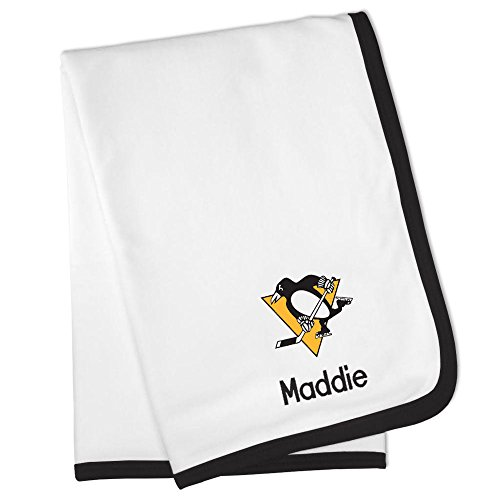 Personalized Pittsburgh Penguins Baby Blanket (Officially Licensed) Ultra Soft, Warm Comfort | Receiving Swaddle for Newborn Boy or Girl | Portable, Stroller Friendly