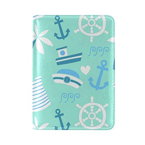 COOSUN Blue Sailing Elements Leder Reisepasshülle für Travel One Pocket