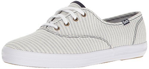 Keds Champion Stripe - Keds Women's Champion Railroad Stripe Fashion Sneaker, Blue, 8.5 M US