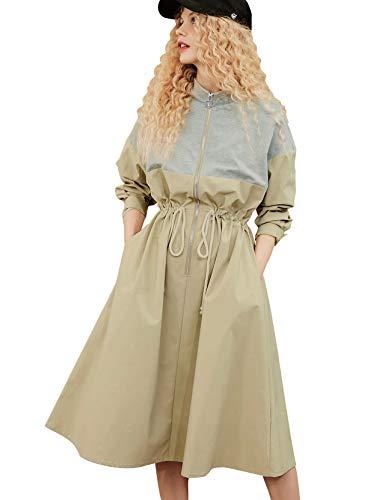 Elf Sack Women Long Personality Collar Outwear Slim Trench Coat Gray