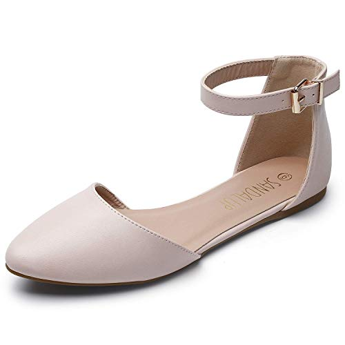 (SANDALUP Pointy Toe Flats with Adjustable Ankle Strap Buckle for Women Nude PU 09)