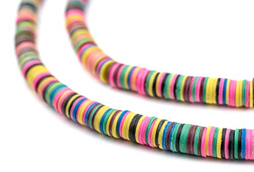 African Vinyl Beads, Ghana Vulcanite Crafts Supplies for DIY Jewelry Making, Necklaces, Bracelets (6mm, Multicolor)