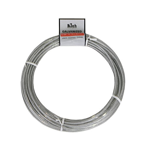 Koch A41104 7 x 7 Pre-cut Vinyl Coated Galvanized Wire Rope Cable 3/32-3/16-Inches by 50-Feet, Coil, Clear Wire 50' Coil