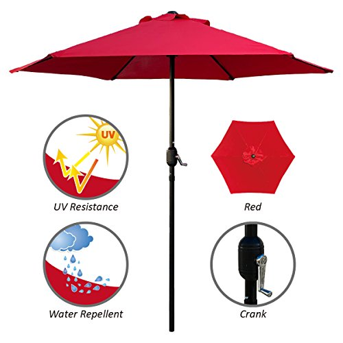 ABBLE Outdoor Patio Umbrella 7.5 Ft with Crank, Weather Resistant, UV Protective Umbrella, Durable, 6 Sturdy Steel Ribs, Market Outdoor Table Umbrella, Red
