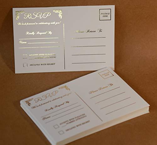 RSVP Postcards for Wedding Gold Foil 4