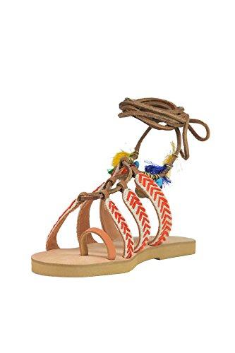 Multicolor Coral MCGLCAB03082E blue Leather Women's Sandals qrrtpH