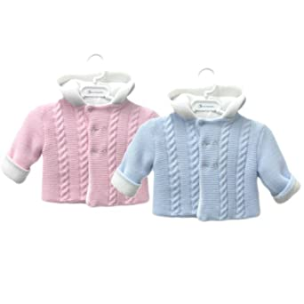 93c7fd1307df Chew2you Gorgeous Knitted Baby Pram Hooded Jacket With Double ...