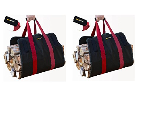 Firewood Log Carrier Ballistic Log tote bag ,2 pcs Super stronger than Canvas Firewood carrier Log tote bag 2 pcs Melo Tough