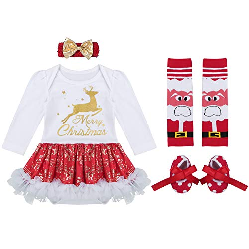 YiZYiF Baby Girl's 1st Christmas Party Tutu Costumes 4 Pieces Outfits Set (0-3 Months, Merry ()